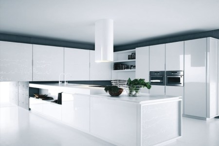 modern kitchen white lacquer cabinets