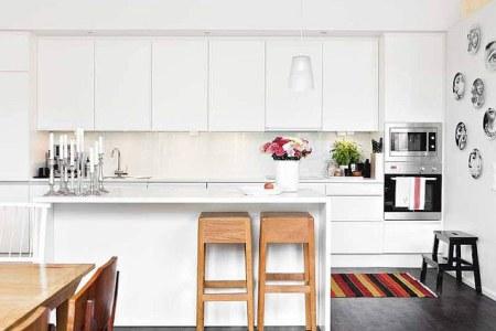 white modern kitchen colorful accessories