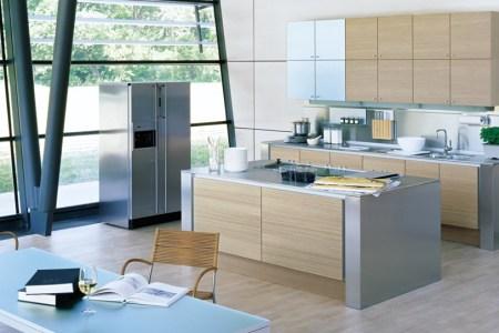 modern kitchen design wood stainless steel