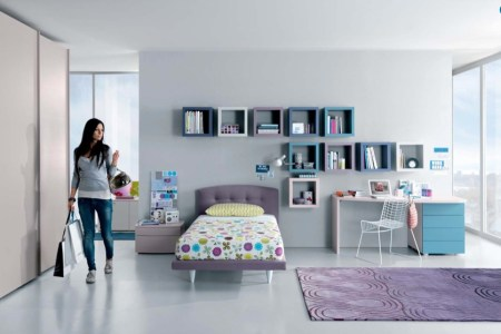 aqua lavendar white contemporary teenagers room