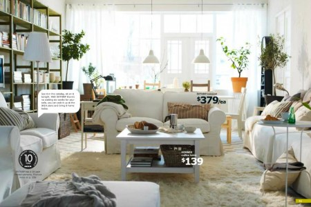 ikea white cozy living area
