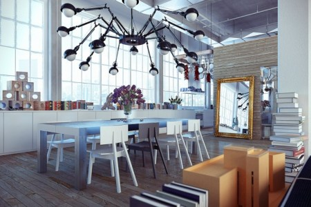 industrial loft with metal dining table1