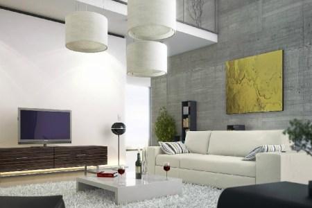 modern living room concrete wall mezzanine