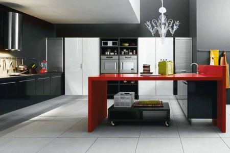 black red white modern kitchen