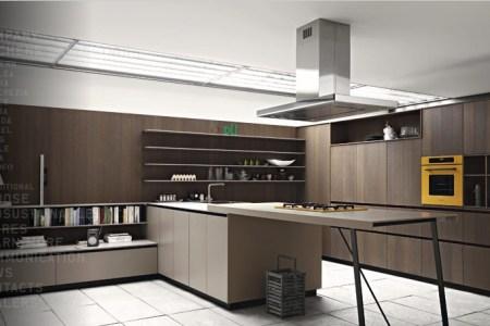 cognac oak yellow modern kitchen