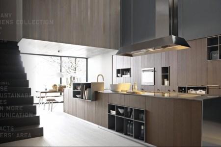 stainless steel cognac oak modern kitchen