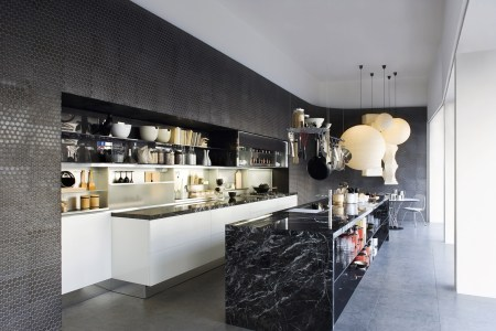 black marble kitchen island