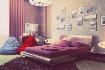 purple cream bedroom