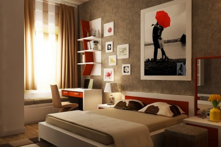 red brown white bedroom layout