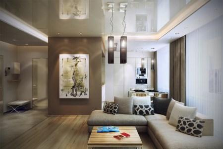 brown cream open living room
