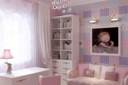 pink lilac blue girls room