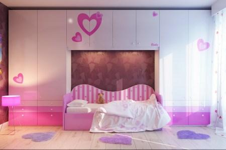 pink white girls bedroom decor idea