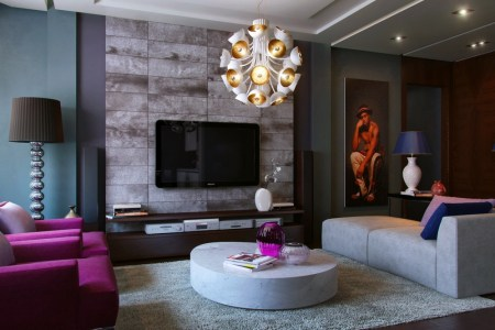 purple teal slate living room