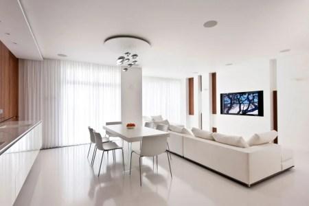 white kitchen diner lounge