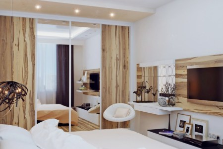 white and wood bedroom design
