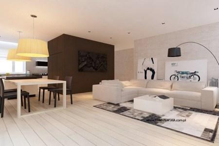 white brown kitchen diner lounge