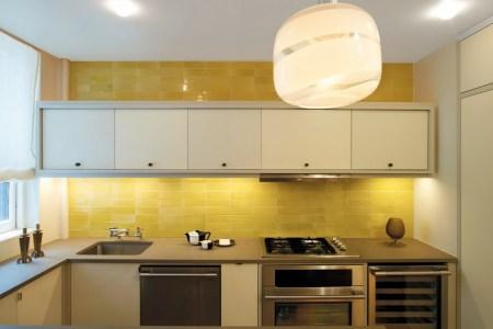 brilliant yellow tile backsplash