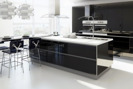 modern kitchen with extended bar