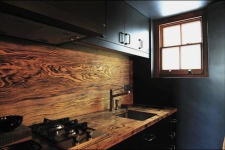 wood rich grained backsplash