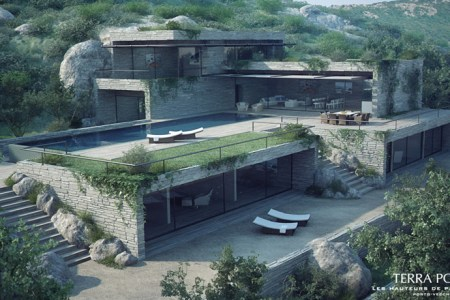 mountain side villa with pool and outdoor furniture