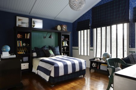 blue and white ed boys room with silver accents