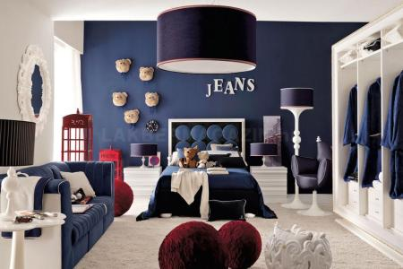 red white and blue denim themed boys room