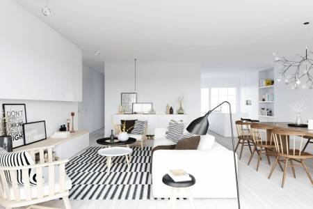 atdesign nordic style living in monochrome with wooden dining