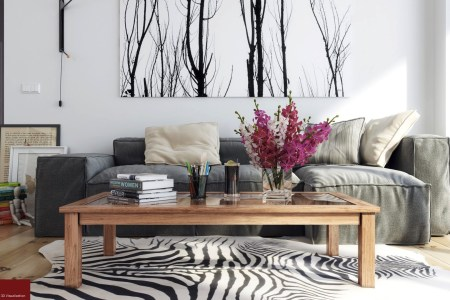 hoang minh nordic style lounge with wintery print