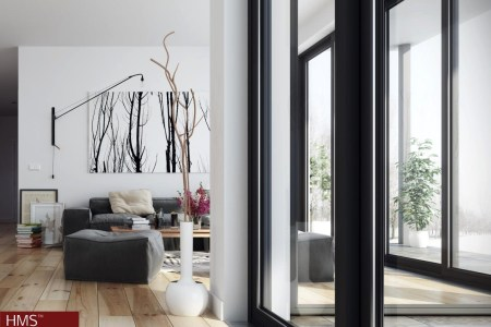 hoang minh nordic style living room with windowed walls