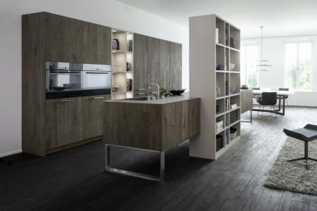 dark wood grey and white kitchen