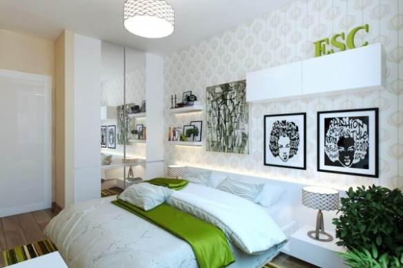 The pops of green in this contemporary bedroom make it feel playful and easy to be in, despite its smaller size.