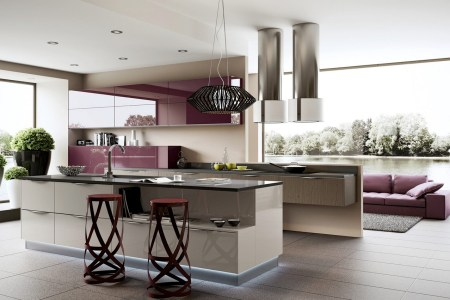 5 purple kitchen units