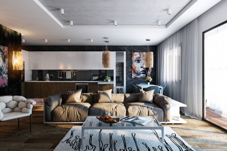 black wall studio apartment