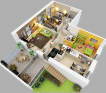 The bedrooms in this layout are not particularly large, but spacious outdoor areas and a cozy living room mean there is still room to spread out and relax.