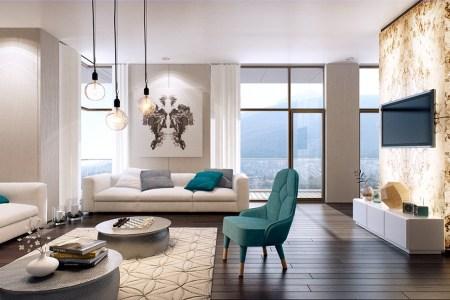 white bright living room
