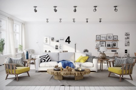 chevron yellow living room
