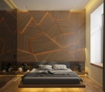 Magnificent lighted panels create an immediate impression in the bedroom.