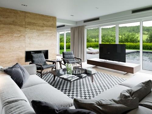 Medium Of Interior Designs Of Living Rooms
