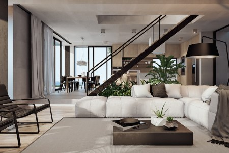 modern interior with a coastal view