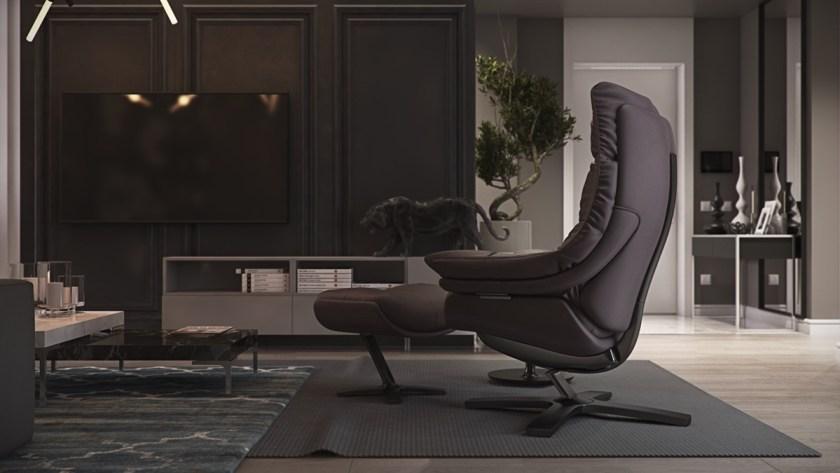 bonzai-tree-living-room-coffee-bean-leather-chair-matching-ottoman-modern-gothic