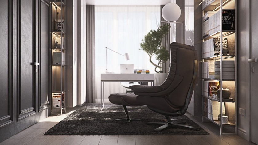 Backing on to a high-ceilinged window, charcoal leather sits beside a minimalistic library, designed for a 4m cubed stack of books. Perfectly framing each wall with an elegant stencil design, its white-bound bounty matches the lacquered white desk and buoyant circular lights.