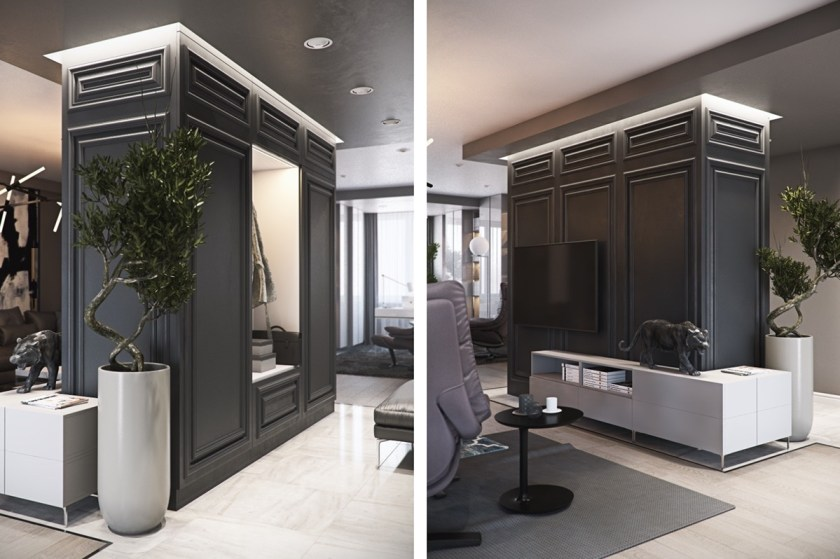 Free-standing panels form room partitions as the space transforms to a wardrobe, the black enamel tiger leading the way. Bonzai trees from the study appear in the living room, a segue and hint of nature in an apartment lapping up modern-day luxury.