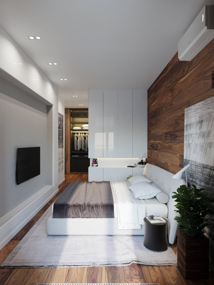 High white cabinetry wooden feature wall and floor modern rustic bedroom