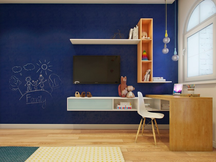 The children's room allows creativity – within good design. Midnight blue from the bedroom duvet translates to a feature chalkboard wall, for the kids to draw on.