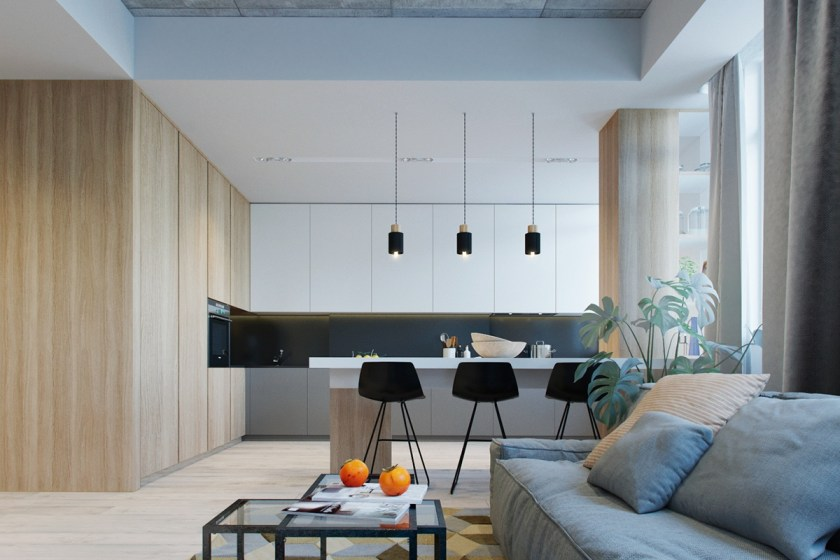 The view to the kitchen offers a different perspective. Three black chairs pair with three black hanging lights, a perfect symphony for dining. Two interlocked black-and-glass tables work with new black features and previous rectangular elements. A light wooden cross-room wall and floor adds an unexpected feature.