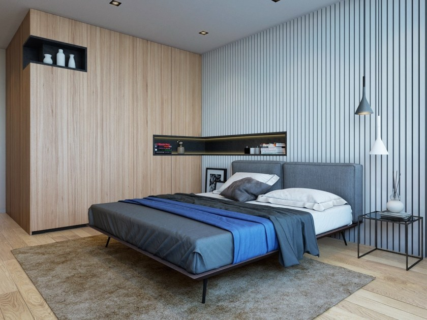 two-feature-wall-bedroom-top-to-toe-wooden-wall-and-flooring-midnight-blue-duvet