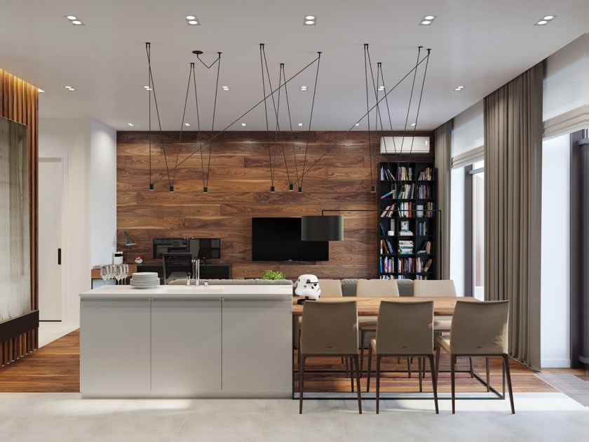 Wood-panelled living space wooden feature wall rustic details kichen and living area