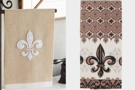 patterned towels fleur de lis bathroom decor 600x455