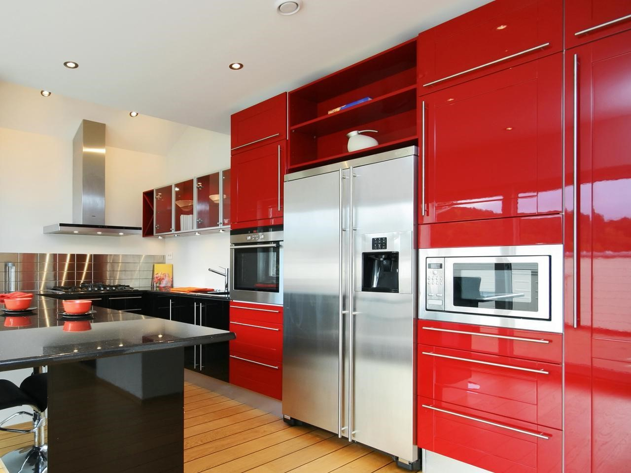 best modern kitchen cabinets pictures of kitchen cabinets Retro Red Modern Kitchen Cabibet