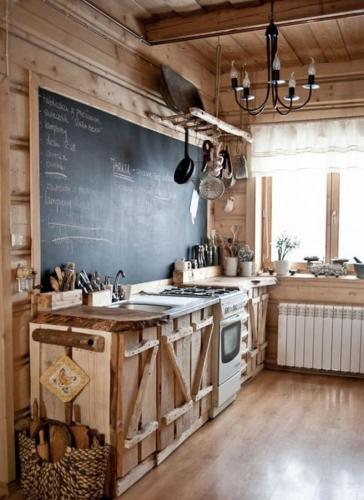 best rustic country kitchen design ideas country kitchen designs A Chalkboard Makes a Unique Addition to a Cabin Style Rustic Kitchen
